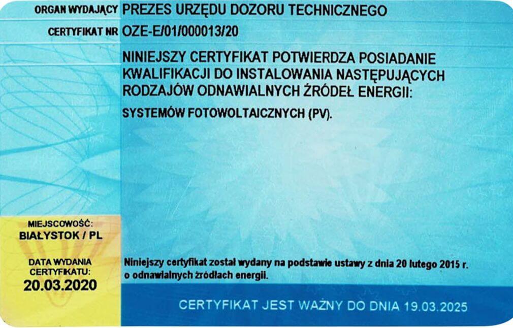 certyfikat fotowoltaika2